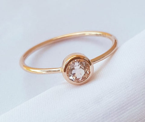 0.25ct Morganite Bezel Set Promise Ring in 18ct Rose Gold CTJ US Size 5.5