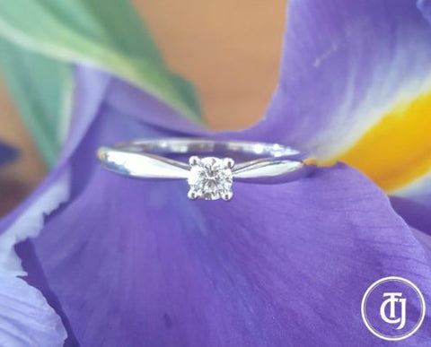 18ct 18k White Gold G/SI1 0.15ct Diamond Solitaire Engagement Promise Ring CTJ