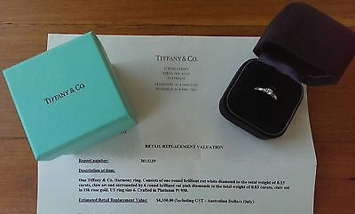 Tiffany & Co Harmony Fancy Pink Diamond Side Stone Engagement Ring RRP $4800