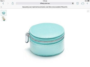 Tiffany & Co Leather Round Zip Jewelry Ring Case Ultrasuede Interior w/box $190
