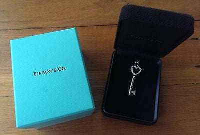 Tiffany & Co Diamond & 18ct White Gold Tiffany Heart Keys Pendant Medium $2750