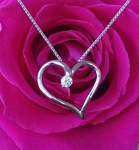 Hearts on Fire Diamond Ideal Cut Amorous Heart Pendant 18ct White Gold