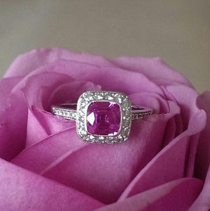 Tiffany & Co 1.21ct Pink Sapphire & Diamond Legacy Engagement/Anniversary ring