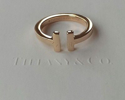 Tiffany & Co 18ct Rose Gold Tiffany 'T' Square Ring Size 8