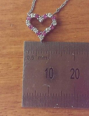 "Tiffany & Co Diamond/Pink Sapphire Pinched Heart Pendant 16"" Chain PT950 $2950"