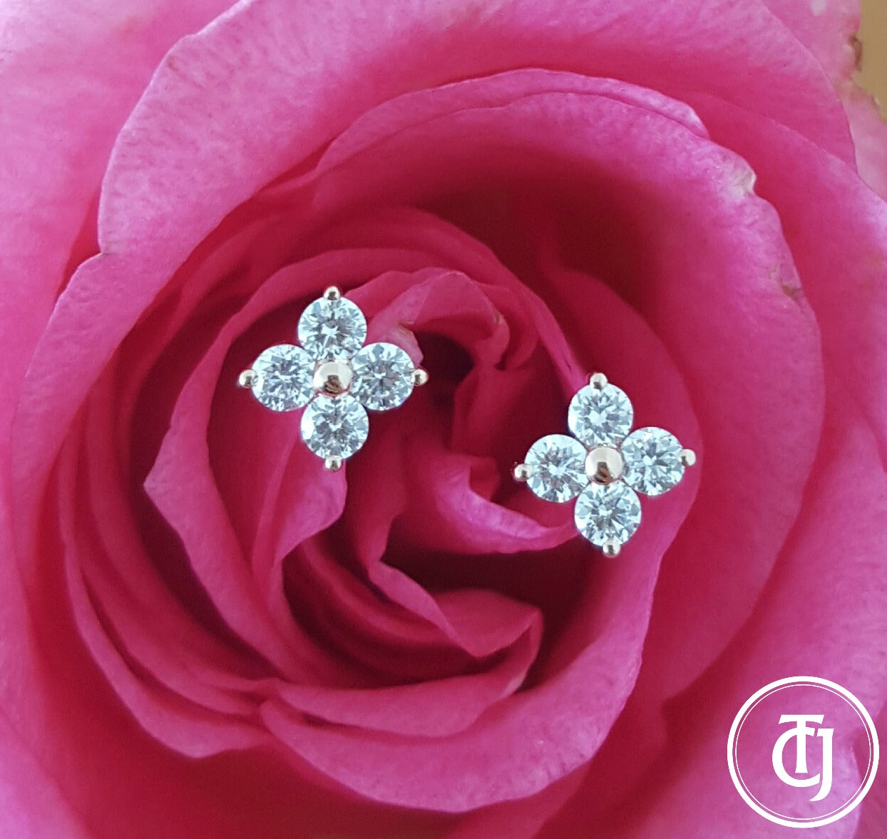 0.24tcw G/SI1 Diamond Stud 'Florette' Earrings in 18k 18ct Rose Gold by CTJ