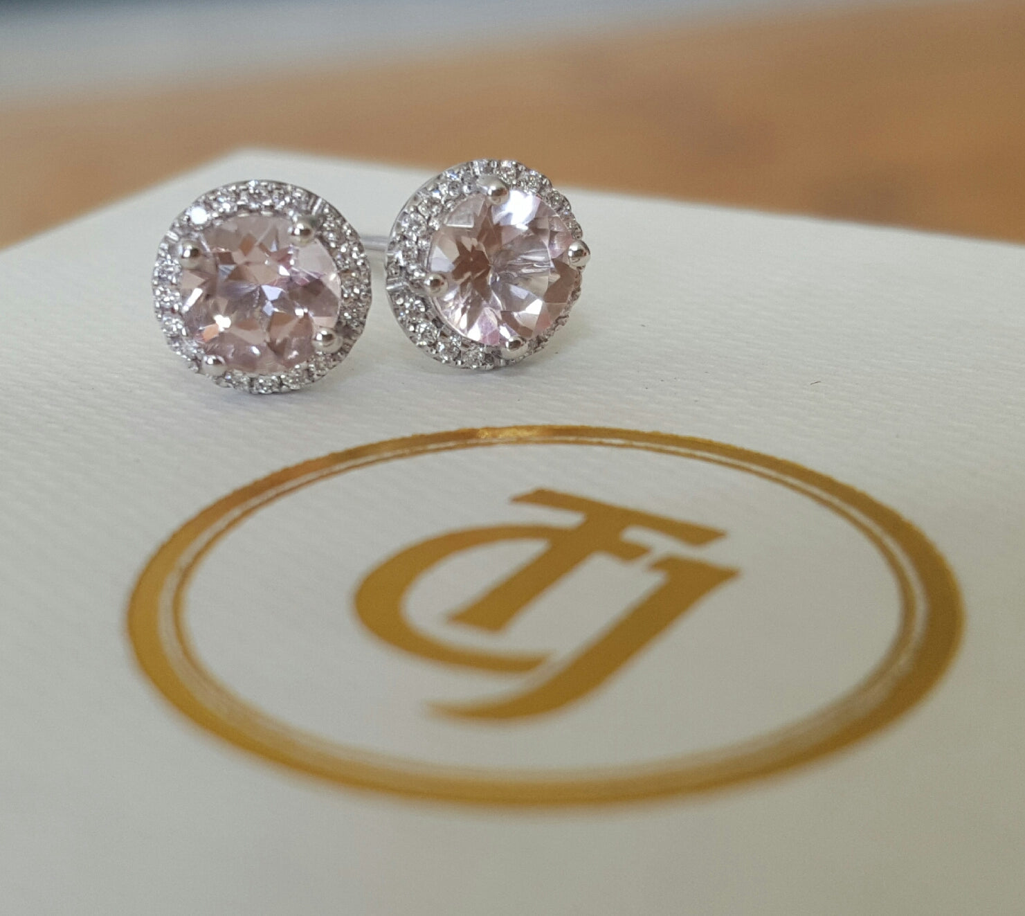 0.80tcw Morganite & 0.10tcw Diamond Stud Earrings in 18k White Gold by CTJ