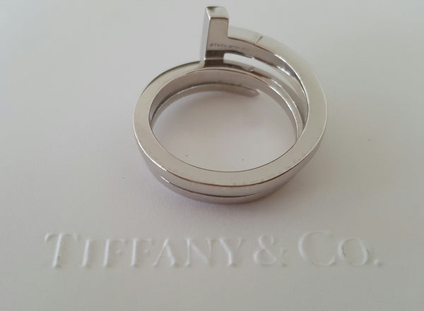 Tiffany & Co. Diamond and 18ct White Gold Tiffany T Wrap Ring Size 9 RRP $3800