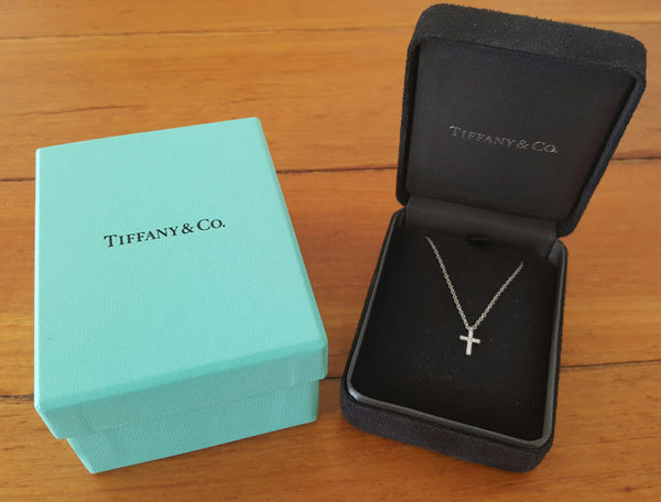 Tiffany & Co. 0.03tcw Diamond and 18ct White Gold Mini Cross on a 16 inch Chain