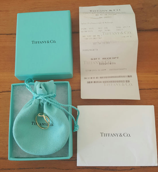 Tiffany & Co. 18ct Yellow Gold Infinity Ring Size 7 with Receipt