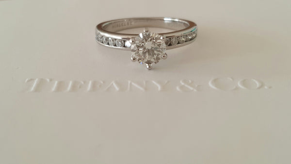 Tiffany & Co. 0.79tcw H/VVS2 Diamond Engagement Ring with Diamonds on the Band