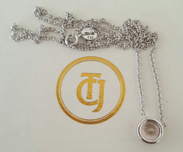 0.90ct Morganite and 0.06tcw Diamond Pendant Necklace 18ct 18k White Gold by CTJ