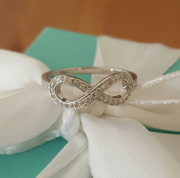 Tiffany & Co. 0.14tcw Diamond and Platinum Infinity Ring Size 5 RRP $4250