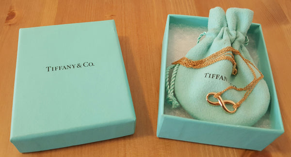 "Tiffany & Co 18ct Rose Gold Tiffany Infinity Pendant/Necklace 16"" Chain"