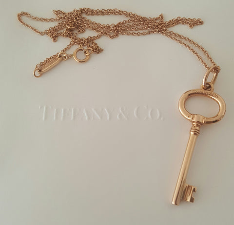 "Tiffany & Co 18ct Rose Gold Key Pendant/Necklace 16"" adjustable 18ct Chain"