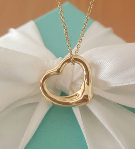 Tiffany & Co. 18ct 18k Yellow Gold 'Sml' Heart Pendant/Necklace on 20 inch Chain