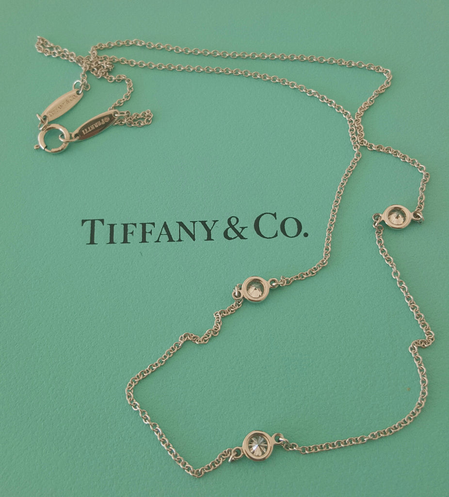 88cbed4335392 Tiffany & Co. 0.30tcw Elsa Peretti Diamond By The Yard Necklace in Platinum  RRP $4200