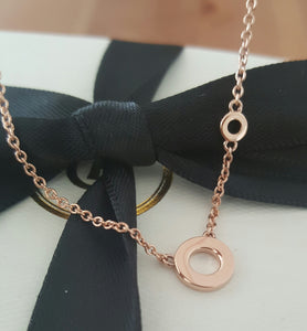 "18ct 18k Solid Rose Gold Double Circle Pendant Necklace by CTJ on 18"" Chain"