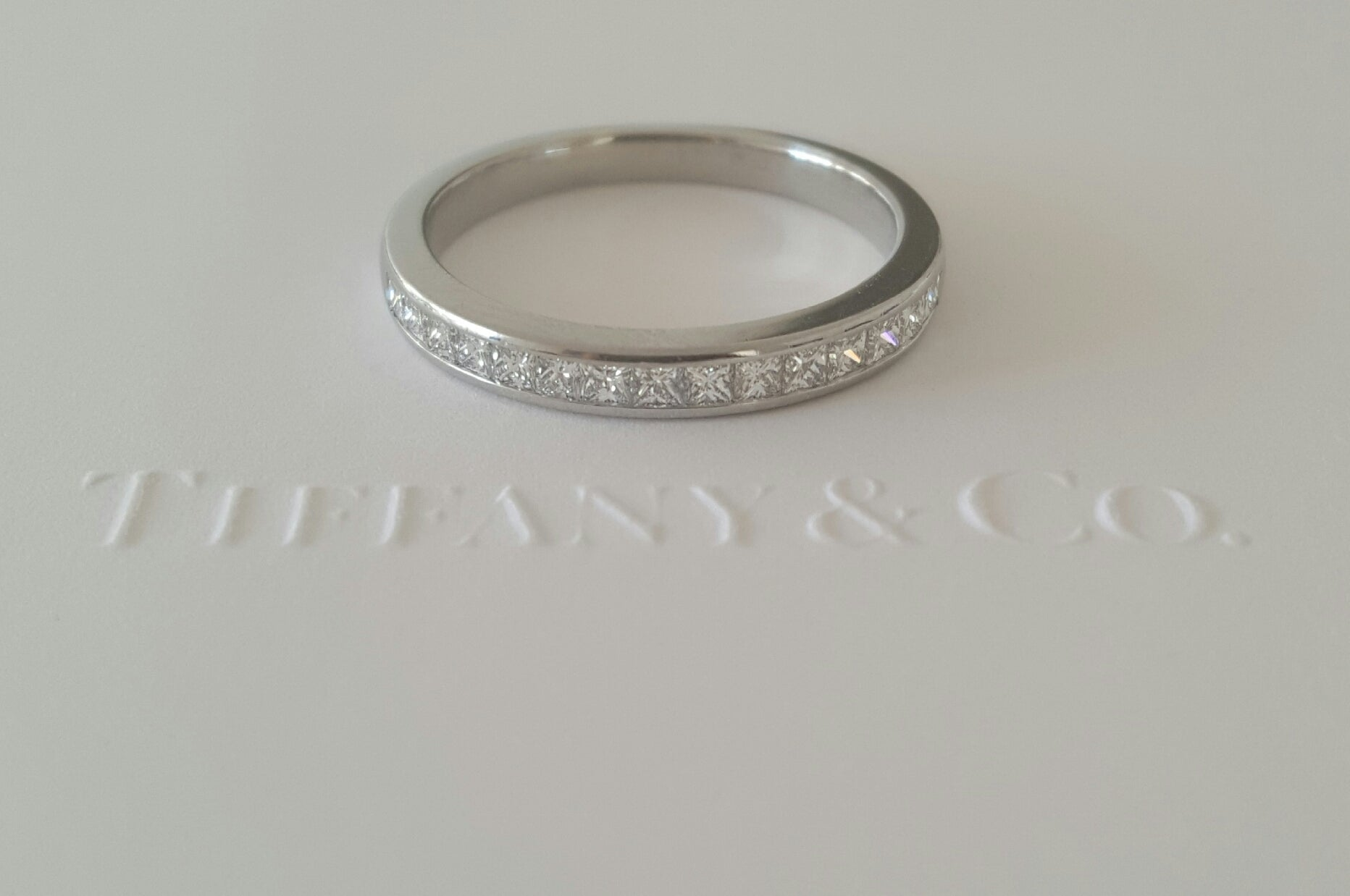 Tiffany & Co. 0.39tcw Princess Cut Diamond Half Eternity Band PT950 Paperwork