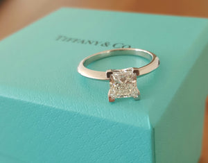 Tiffany & Co. 1.19ct I/VS1 Princess Cut Diamond Solitaire Engagement Ring PT950
