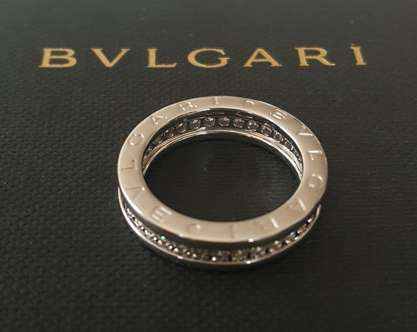 Bvlgari Bulgari Full Diamond and 18ct Gold Bzero1 Ring RRP $7300 AN850656 US 5.5