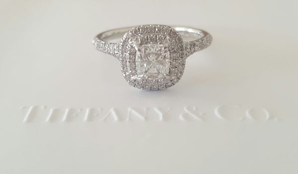 Tiffany & Co. 0.92tcw E/VS2 Soleste Diamond Double Halo Engagement Ring Platinum