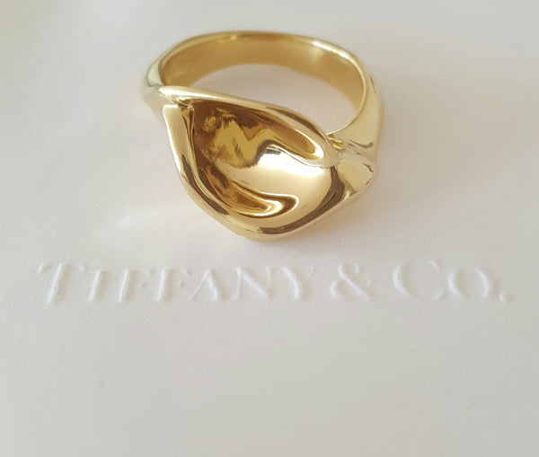 Tiffany & Co. Vintage 1980's Calla Lily Elsa Peretti 18ct Yellow Gold Ring 8.54g