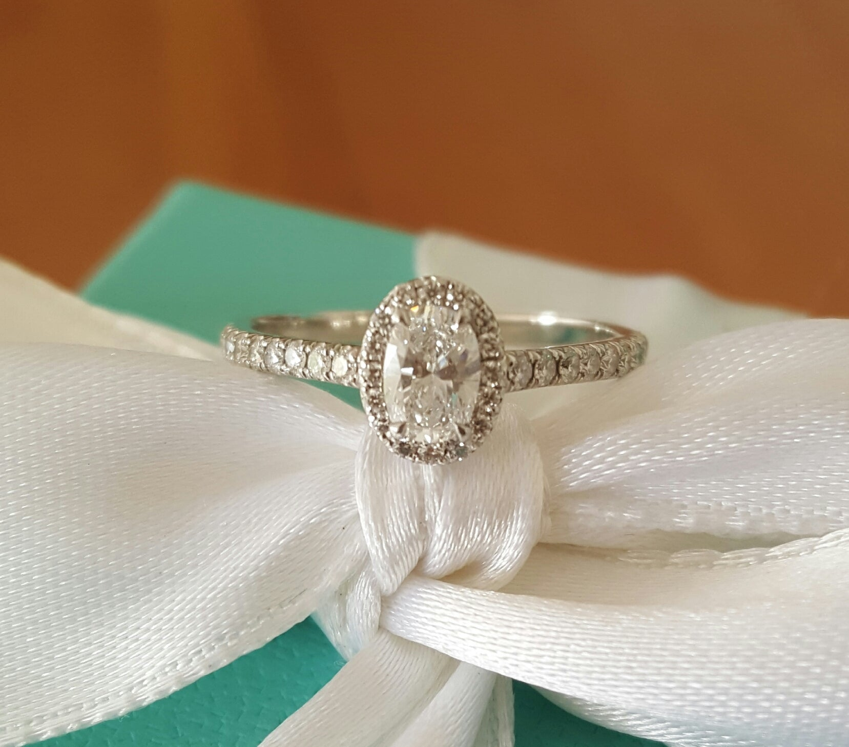 Tiffany & Co. 0.57tcw E/VVS2 Oval Diamond Soleste Halo Engagement Ring