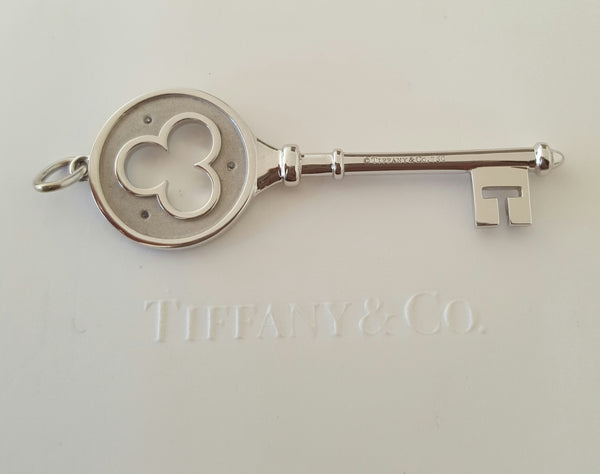 Tiffany & Co. 18ct White Gold and Diamond Large 2 inch Clover Key Pendant