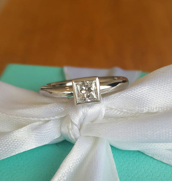 Tiffany & Co. 0.38 E/VVS2 Princess Cut Bezel Set Platinum Engagement Ring