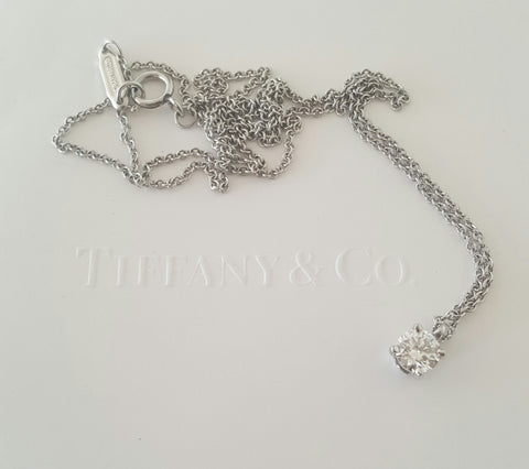 Tiffany & Co. 0.29ct I/SI1 Diamond Pendant in Platinum with Cert/Rcpt/Packaging