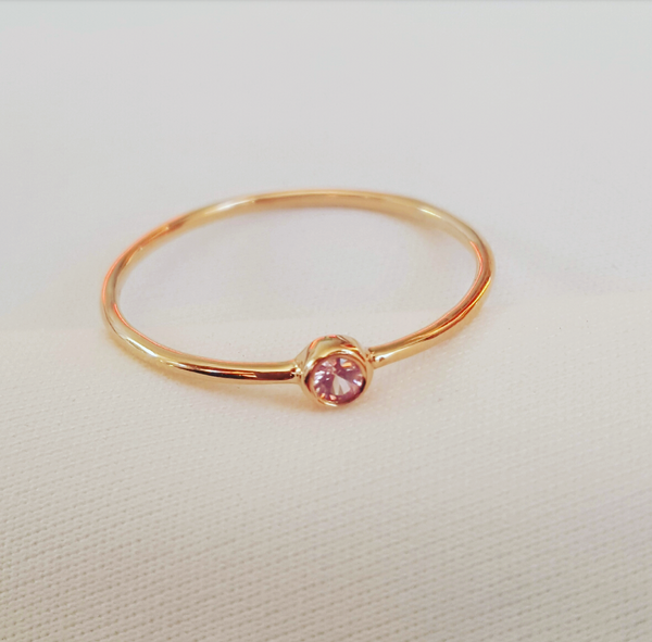 Tiny Sapphire (Pink/Lilac) Bezel Set 18ct Rose Gold 'CTJ' Promise Dress Ring Size 5.5