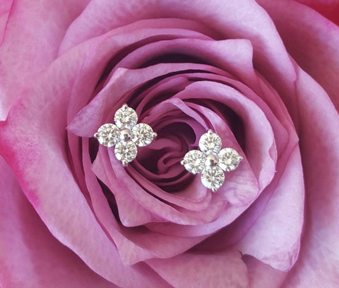 0.24tcw G/SI1 Diamond Stud 'Florette' Earrings in 18k 18ct White Gold by CTJ