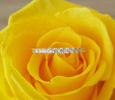 0.35tcw Diamond and 18ct Yellow Gold 2mm Half Eternity Band Ring US 5.5 by CTJ