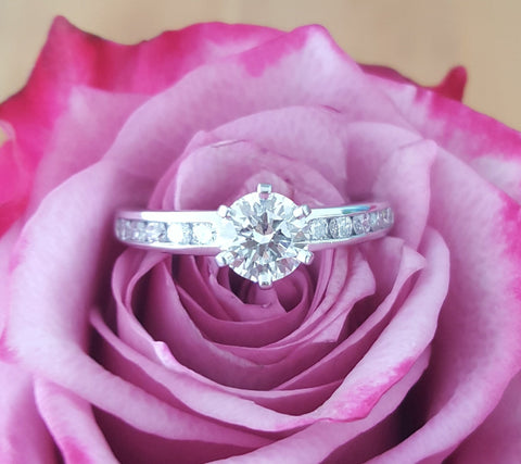 Tiffany & Co. 1.12tcw G/VVS2 Diamond Engagement Ring with Diamonds on the Band