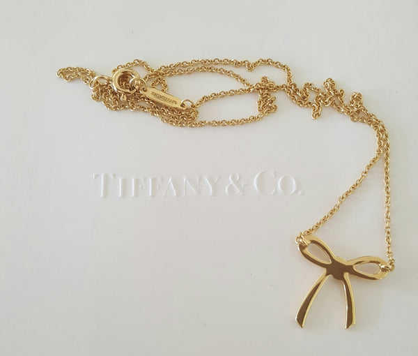 Tiffany & Co. 18ct Yellow Gold Bow Pendant Necklace 16inch Chain RRP $1600