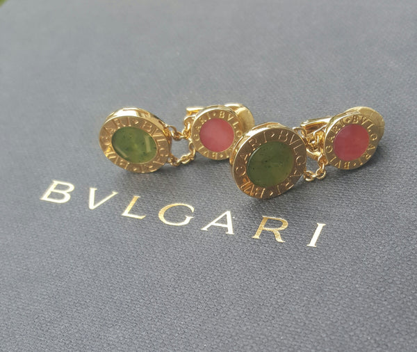 Vintage Bvlgari 18ct Yellow Gold Green Jade Red Coral Drop Dangle Clip-On Earrings