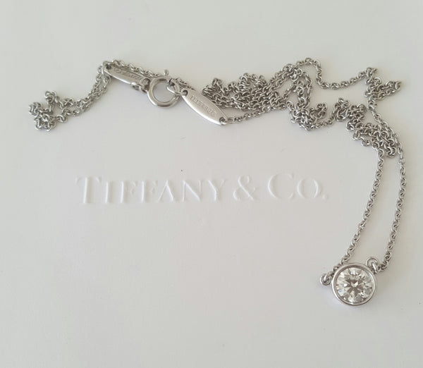 Tiffany & Co. 0.37ct I/VS1 Diamonds by the Yard Platinum Pendant 16 inch Chain
