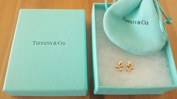 Tiffany & Co. 18ct Rose Gold and Diamond Paloma Picasso Olive Leaf Earrings