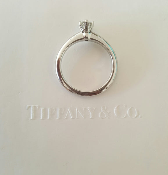 Tiffany & Co. 0.26ct I/VVS2 Diamond Solitaire Engagement Ring Platinum Cert/Val