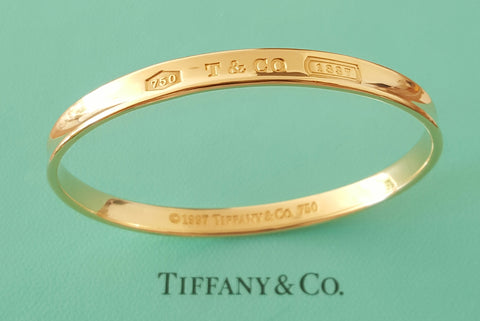 Tiffany & Co. Vintage 1990s Solid Gold 1837 Concave Bangle 28gms