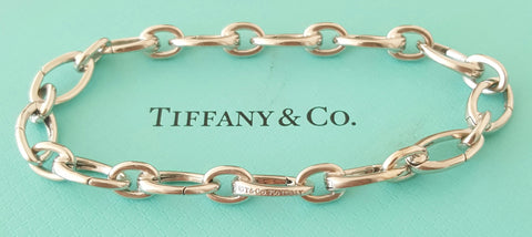 Tiffany & Co. Solid 18ct White Gold Link Clasp Charm Bracelet Links Open and Close