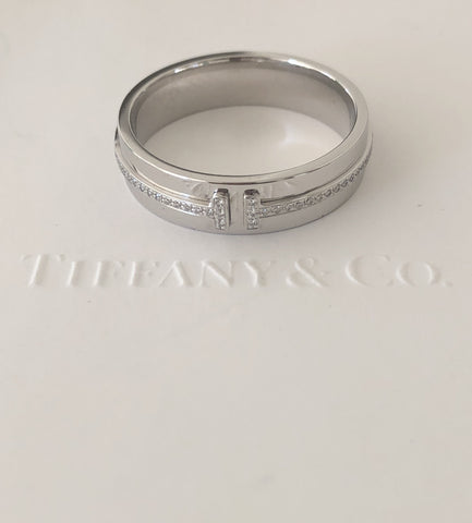 Tiffany T Two 0.13tcw Diamond Ring in 18ct White Gold Size 10