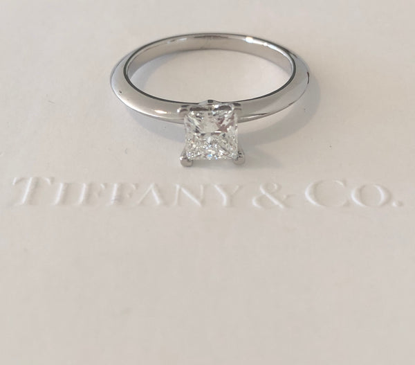 Tiffany & Co. 0.73ct G/VS2 Princess Cut Diamond Engagement Ring Platinum