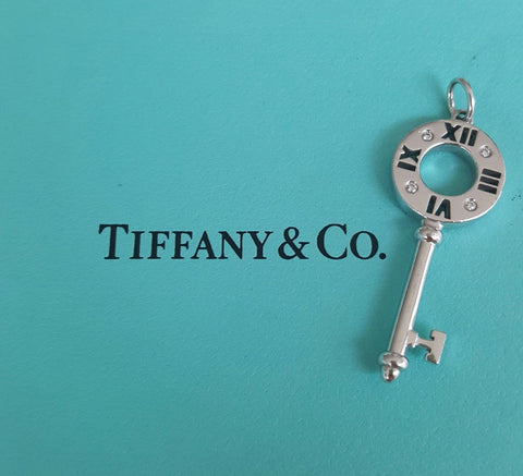Tiffany & Co. 18ct White Gold and Diamond Atlas Pierced Key Pendant