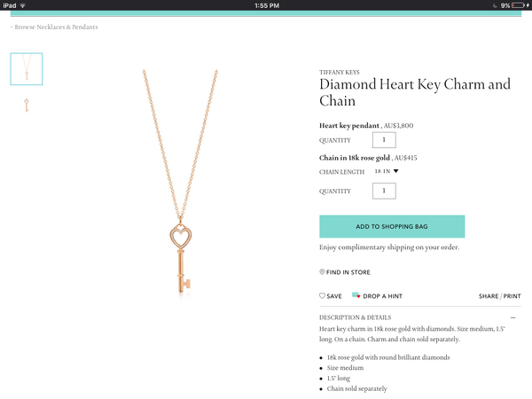 Tiffany & Co. Medium Diamond Heart Key Pendant/Necklace 18ct White Gold $4215