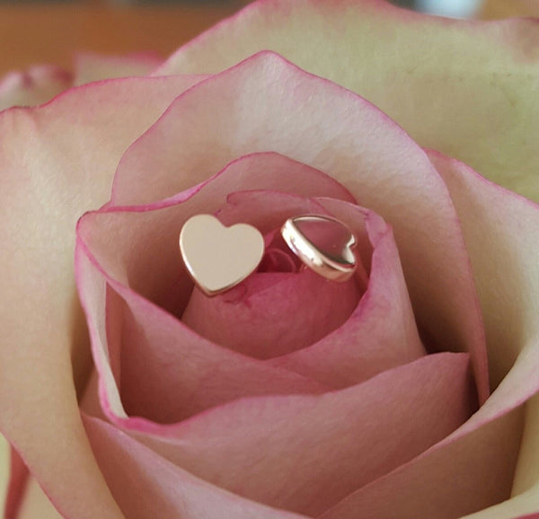 18ct 18k Solid Rose Gold 'Forever' Heart Stud Earrings - Original Design by CTJ
