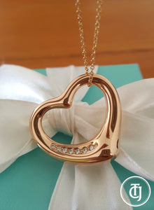 Vintage Tiffany & Co. Diamond Heart Pendant in 18ct Rose Gold. This Pre-Loved Necklace is Cheaper than Retail. Save Significantly.