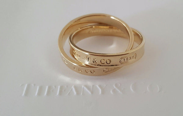 Tiffany & Co. 18ct Yellow Gold 1837 Interlocking Ring Size 5.75 with Receipt