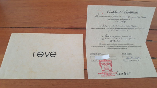 Cartier LOVE Bracelet Solid 18k White Gold Size REF 16B6035417 Box Cert Receipt